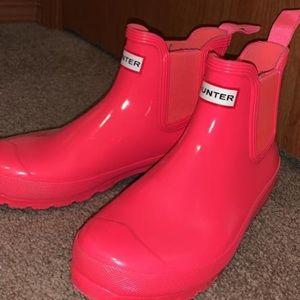 Pink HUNTER mini boots. Hardly worn